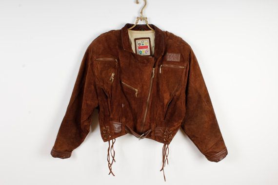 Vintage Brown Suede Leather Jacket Women 80s by LeatherAndDenim