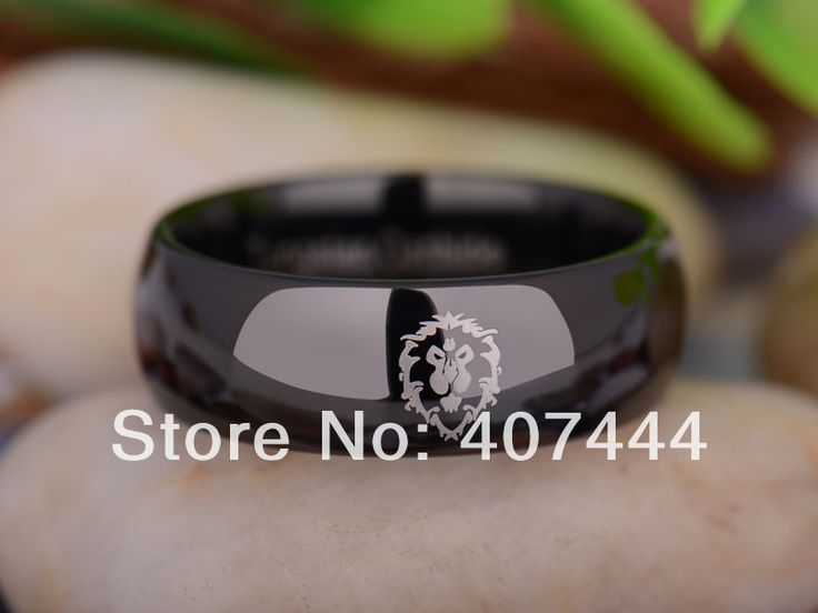 Free Shipping YGK JEWELRY Hot Sales 8MM Black Dome World of Warcraft Alliance Mens Tungsten Carbide Wedding Ring