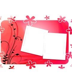 Moldura para duas fotos, fundo vermelho com flores, estilo polaroid. Use este modelo para decorar suas fotos em formato digital. Em seguida, a composi��o pode baixar ou enviar um e-mail.
