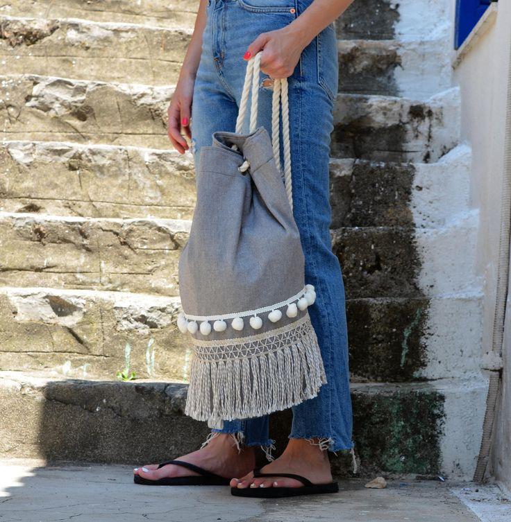 Breeze - Summer Backpack - summer bag - beach backpack - boho backpack - canvas backpack - beach bag - pom pom bag - drawstring backpack by CirceGoods on Etsy