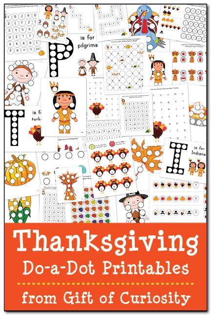 FREE Thanksgiving Do-a-Dot Printables: 29 pages of Thanksgiving do-a-dot worksheets for kids ages 2-6. Great for working on letters, numbers, colors, shapes, patterning, and more! #Thanksgiving #DoADot #freeprintables|| Gift of Curiosity