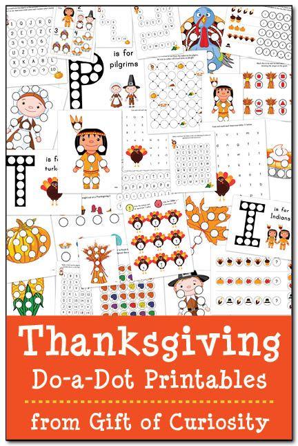 GRATIS de Acción de Gracias Do-a-Dot Imprimibles: 29 páginas de Acción de Gracias hacer-uno-punto hojas de trabajo para niños de 2-6 años.  Excelente para trabajar en letras, números, colores, formas, patrones, y más!  Regalo de la curiosidad #freeprintables #Thanksgiving #DoADot ||