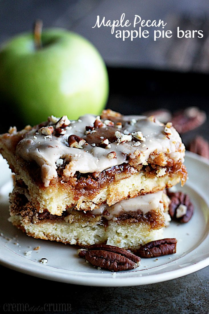 Maple Pecan Apple Pie Bars Recipe ~ Maple pecans and apple pie all rolled into one delicious and easy bar!