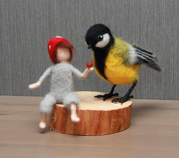 Needle felted gnome and Chickadee. Toadstool boy mushroom
