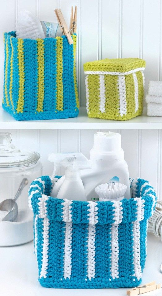 Baskets - In Baskets, Marly Bird presents a variety of soft yet sturdy solutions for organizing your home and furnishing a cozy bed for a pet. All crocheted using two strands of medium weight cotton yarn, the designs include three sizes each of round, square, and oval baskets, a basket with handles, and a round pet bed. Optional edgings and stripes make it fun to customize your projects. Clear instructions are easy to follow, and bonus online technique videos offer extra help.