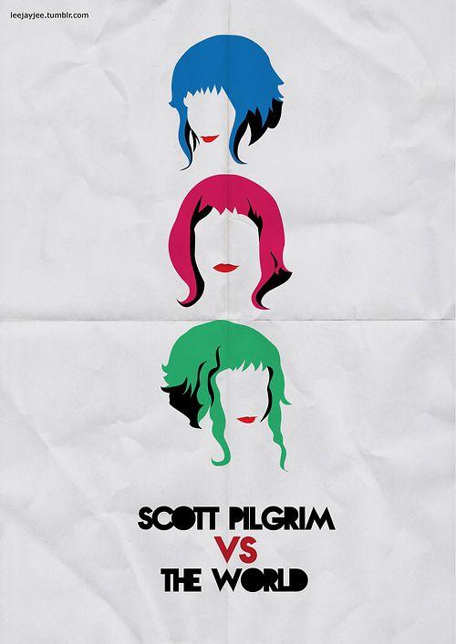 """Scott Pilgrim Vs The World"" by Leah Jacobs-Gordon.  http://minimalmovieposters.tumblr.com/tagged/Scott-Pilgrim"