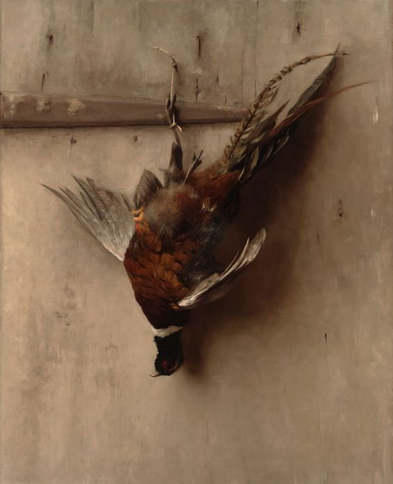 """Hanging pheasant"", painting by Sarah Lamb"