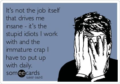 It's not the job itself that drives me insane - it's the stupid idiots I work with and the immature crap I have to put up with daily.