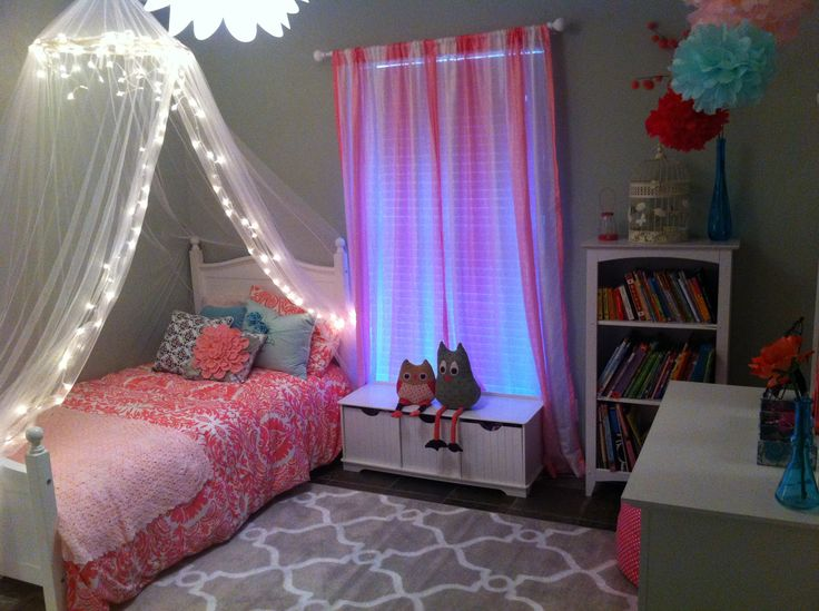 Bedding: Land of Nod  Curtains: Your Zone Ombre panels  Owls: PB Kids  Dreamscape hoop canopy: Amazon (DIY lights)  Light fixture: Lowe's