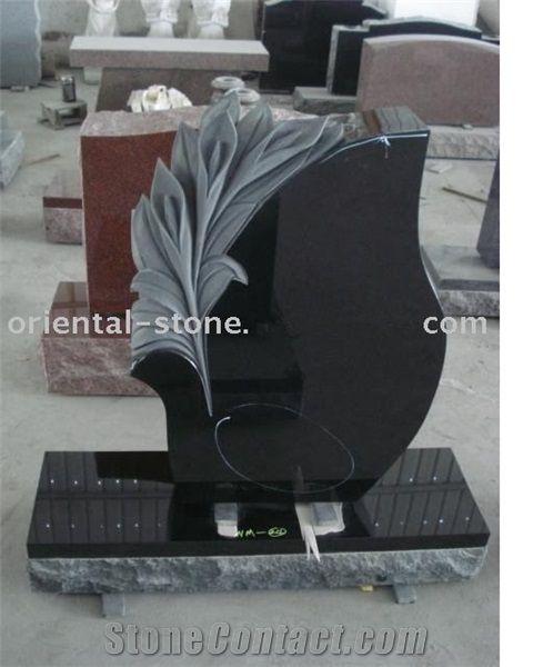 China Black Granite Tree Carving Headstones,Cemetery Engraved Tombstones, Memorial Stone Gravestone,Custom Tombstone Monument Design, Western Style Single Monuments