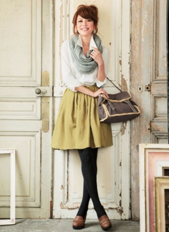 Fall fashion- khaki skirt leggings white blouse and scarf | woman .... !!!!!!! | Pinterest ...