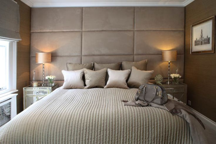 Luxurious caramel, silver and dark beige bedroom from Sophie Paterson Interiors. The padded was is a wonderful idea, no more headboard taking chunks of plaster out of the wall!