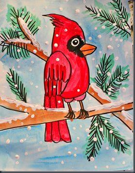 vogel (Angry Bird ;-)) in de sneeuw! 1. met zwarte marker tekenen 2. inkleuren met verf 3. sneeuw maken met wattenstokje en witte verf