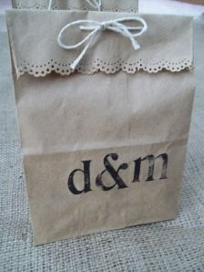 DIY wedding favor bag... They have a pattern similar if not the same as this through Martha Stewart at joAnne's, Michael's, etc
