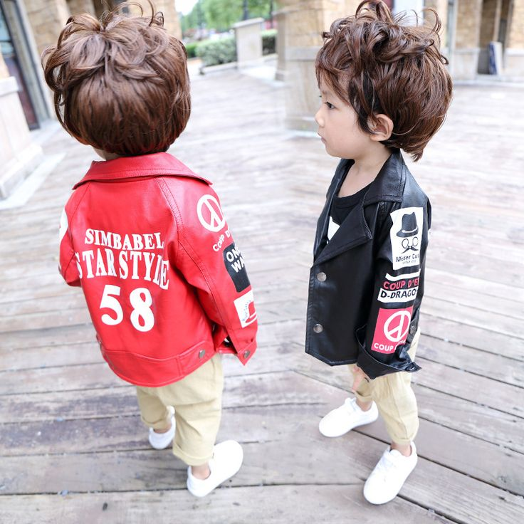 Fashion Letter Cool Boy Leather Jacket Turn-down Collar Kids Baby Leather Motorcycle Coat Red Biker Children Outerwear & Coats