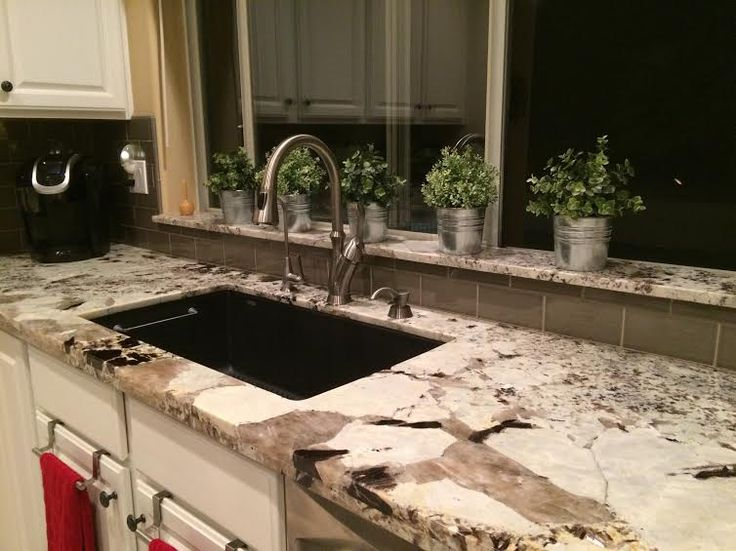 Alaska White Granite Blanco Sink Subway Tile Backsplash