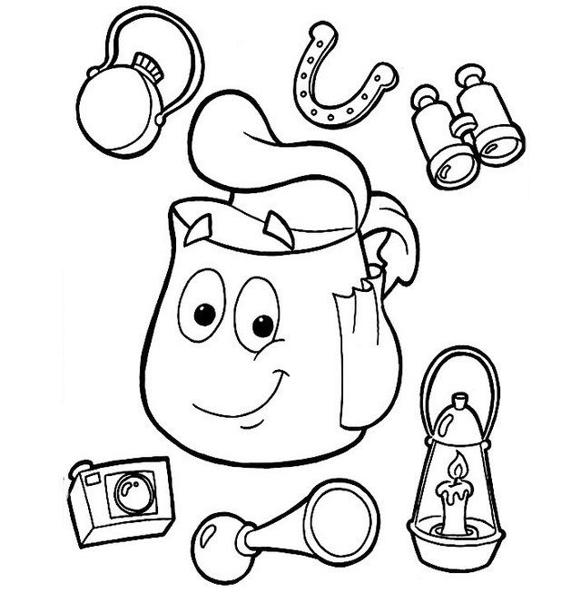 Backpacks Contents Dora Coloring Page For Kids Dora Coloring Coloring Pages Dora The Explorer