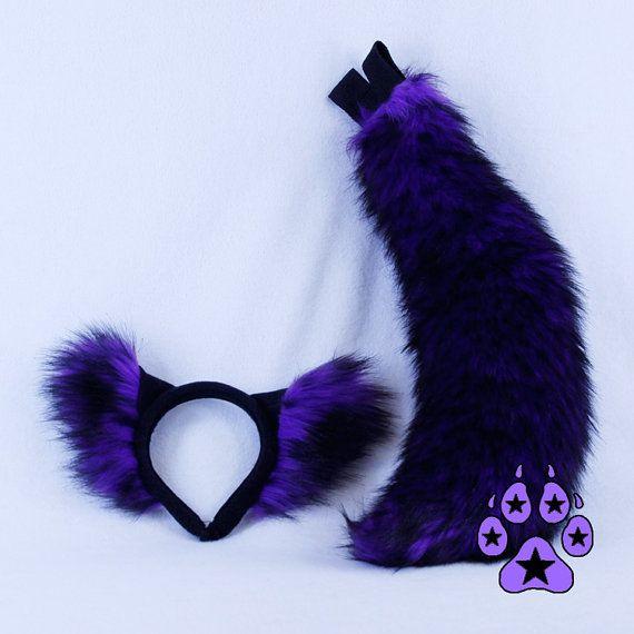 Pawstar realistisch WOLF oor Mini staart COMBO Kies kleur oren hoofdband kostuum kitsune fox dier cosplay harige hond Halloween paarse 4207