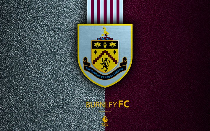 Download wallpapers Burnley FC, 4k, English football club, leather texture, Premier League, logo, emblem, Burnley, England, United Kingdom, football