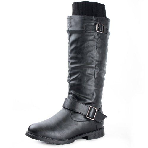 Black dress knee high boots motorcycle