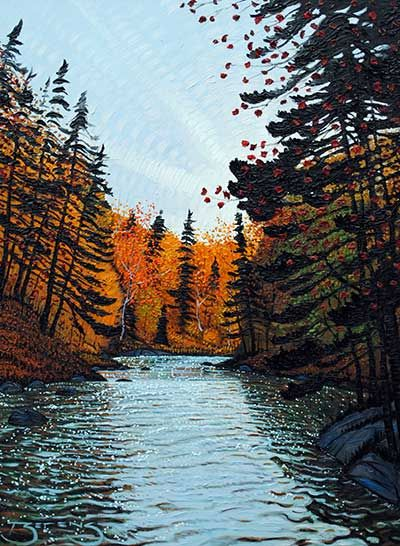 Autumn River Rapids - painting by Mark Berens at Crescent Hill Gallery
