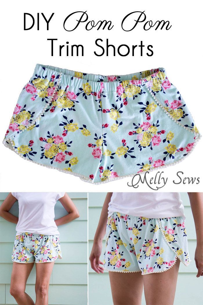DIY Pom Pom Trim Shorts - These easy to make shorts are at home on the beach or at a concert. Sew boho shorts with this free pattern and tutorial…