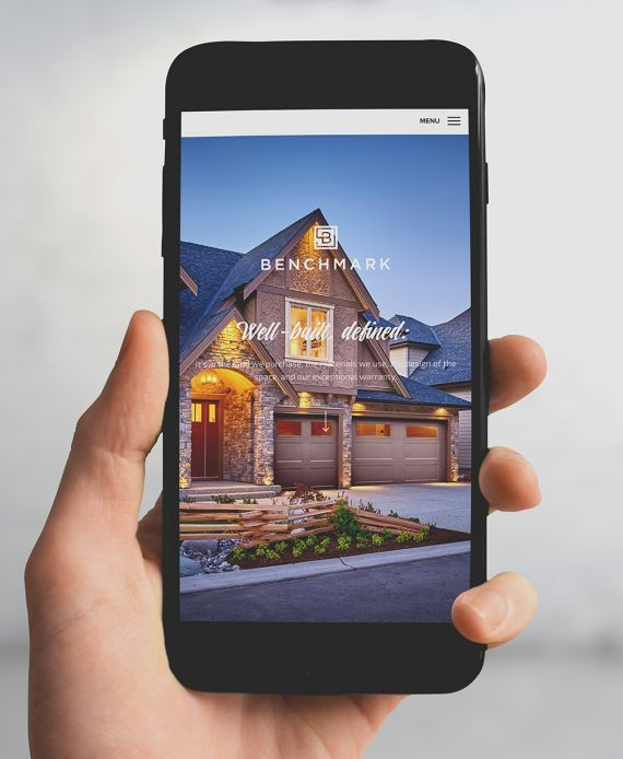 Benchmark Homes mobile website design. #developer #homebuilder #newhomeconstruction #showhomes #residential #commercial #realestate #LowerMainland #company Branding and web design by #Studiothink / Vancouver, BC #SurreyBC #branding #design #stationery #brochure #website #webdesign #creative #agency