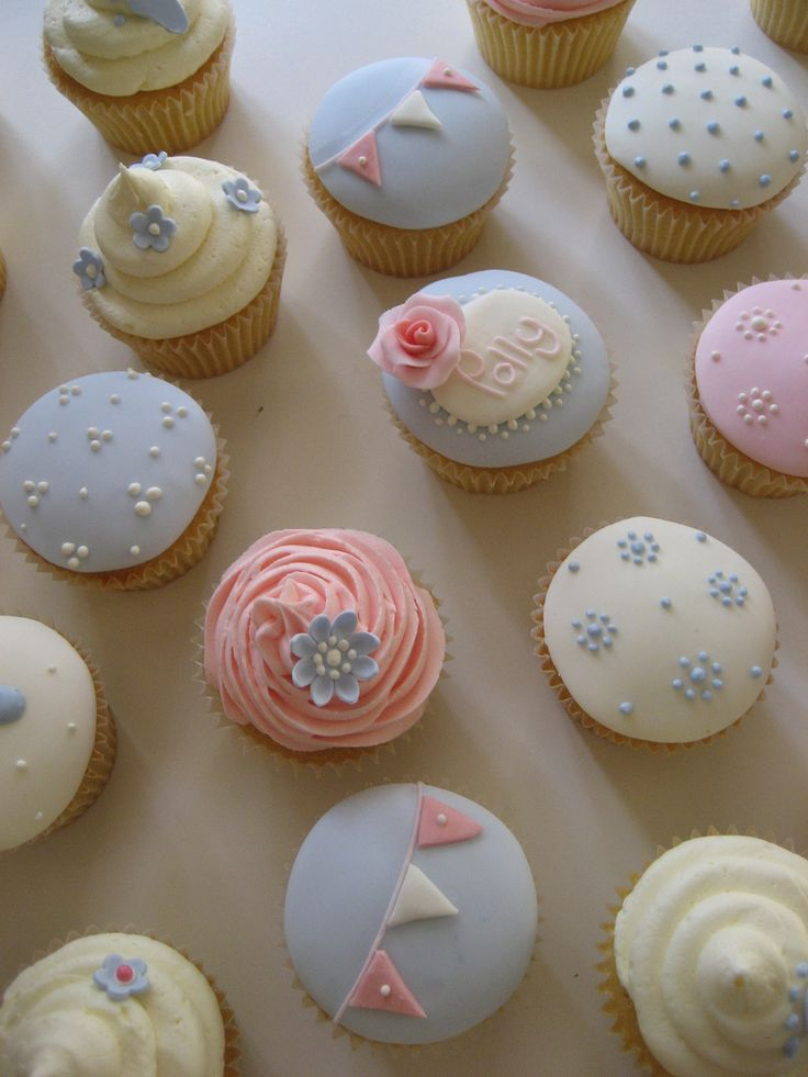 Christening cupcakes...LOVE THE SHADES AND BEAUTIFUL DESIGNS
