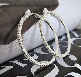 Big rhinestone encrusted hoop Clip On earrings