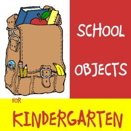 """13 páginas de atividades que introduzem o vocabulário """"school objects"""" para crianças em idade pré-escolar. Confira mais no site http://www.janainaspolidorio.com/school-objects-for-kindergarten.html"""