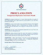 Proclamation form Fort Saskatchewan, Alberta; January, 2012.