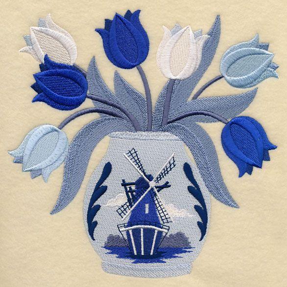 navy dutch tulip basket quilt | Dutch Tulip Bouquet