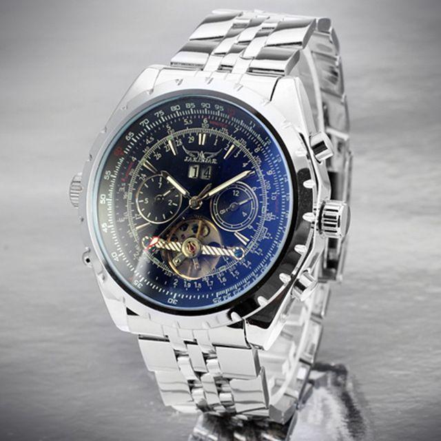 Classic Hollow JARAGAR Watch Stainless Steel Dress Automatic Men Mechanical Wristwatch Fashion Business  Sports Metal Band Reloj