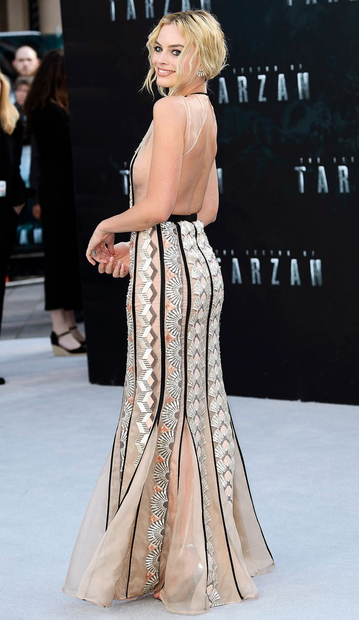 Margot Robbie in a Miu Miu backless dress - click ahead for more better-from-the-back gowns!