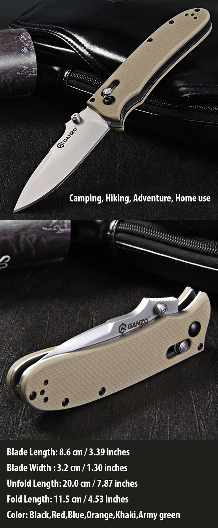 Ganzo G704 - Y Tactical Folding Knife for Home / Outdoor Camping / Hiking / Adventure Activities - khaki * ganzo knives, knife, knife hiking, knife travel
