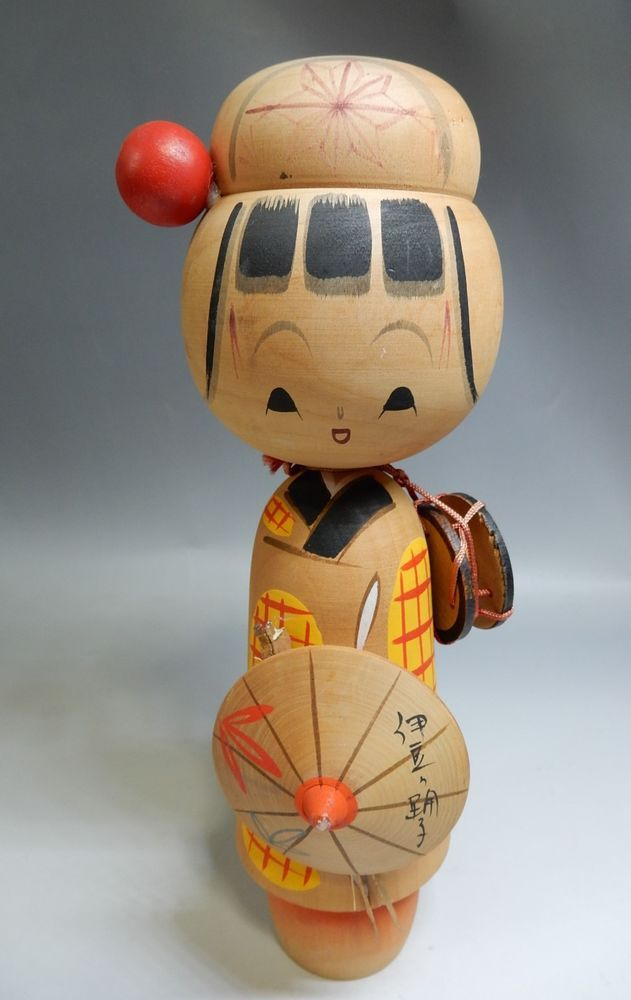 "VTG Sosaku Japanese Kokeshi Wooden Doll Izu no Odoriko H27cm 10.5"""