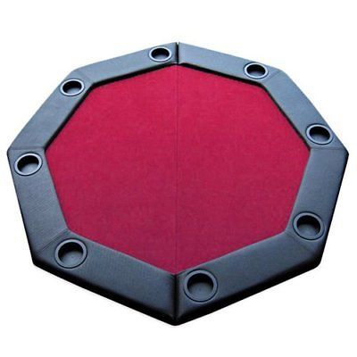 Poker Chips 166570: 48 Red Felt Folding Octagon Poker Table Top W Cup Holders And Padded Rail By Bry -> BUY IT NOW ONLY: $79.99 on eBay!