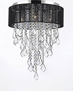 Flushmount 4-light Chrome and Black Shade Crystal Chandelier