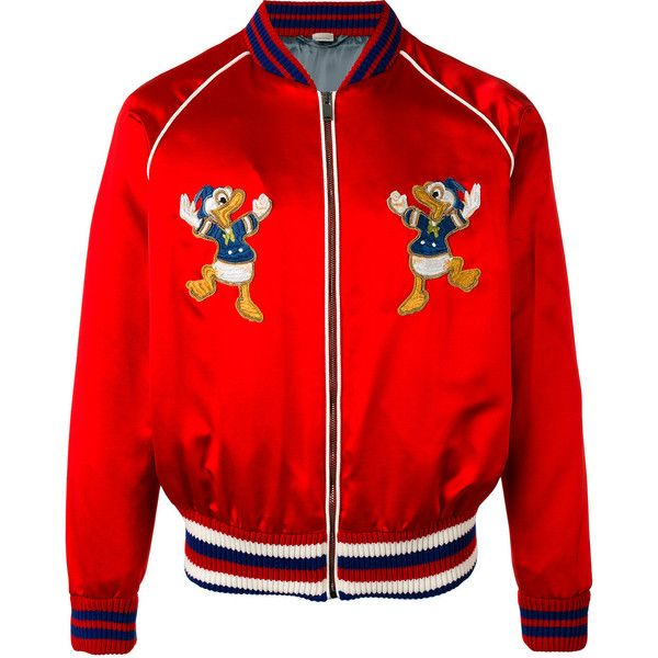 Gucci Donald Duck embroidered bomber jacket ($2,265) ❤ liked on Polyvore featuring men's fashion, men's clothing, men's outerwear, men's jackets, red, gucci mens jacket, mens silk bomber jacket, mens silk jacket, mens summer jackets and mens bomber jacket