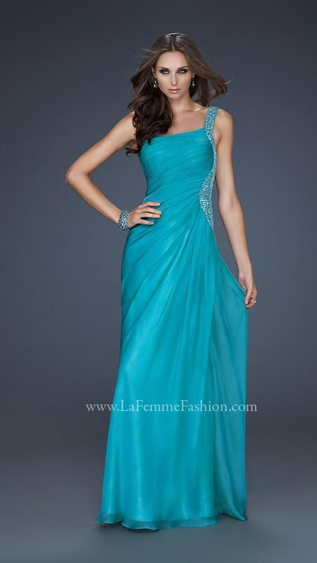 La Femme 17684 - one shoulder teal bridesmaids dress