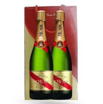 Coffret Champagne Vin Malin, achat Champagne Mumm Cuvée Privilège Coffret Duo pas cher prix promo Vin Malin 54.00 € TTC au lieu de 60 €