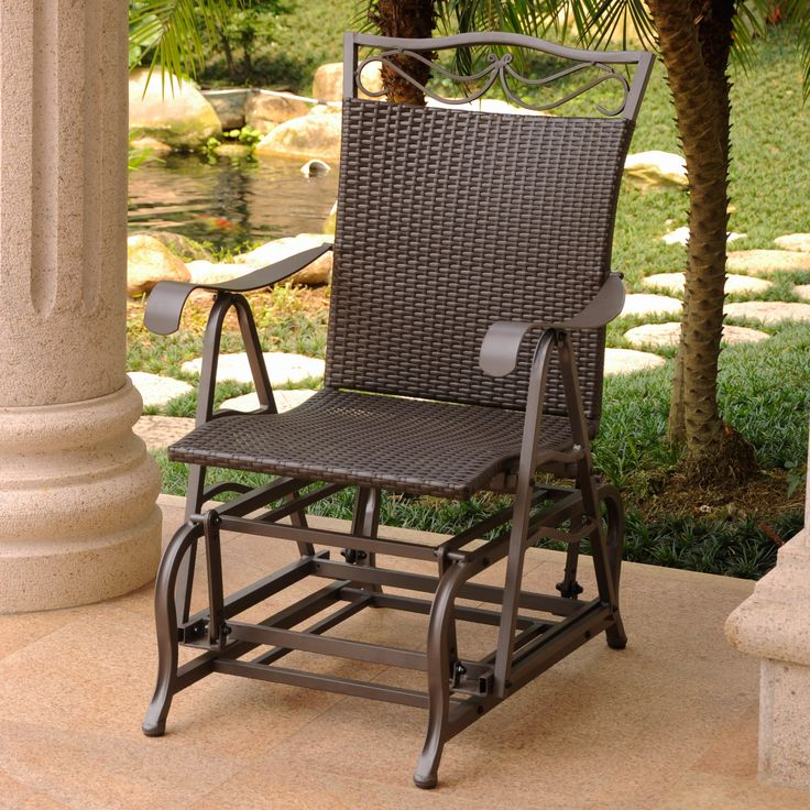 chair this glider is a modern style piece for your outdoor patio furniture set made of quality resin wicker glider chairs are perfect for the backyard