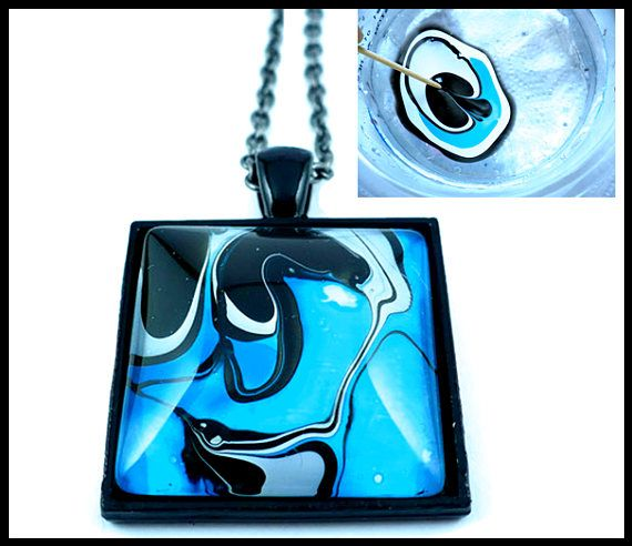 Water painting pendant, blue black white nail polish art, handmade painted on water, ebru art, made in Italy,