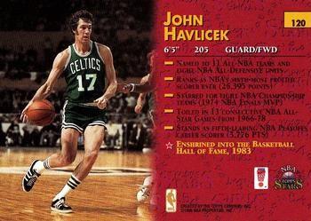john havlicek trading cards | 1996 Topps Stars #120 John Havlicek Back