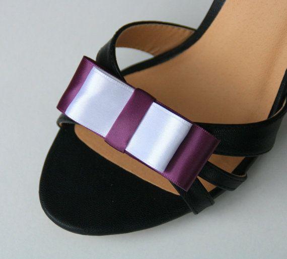 Schuh Clips Satin Schleifen weiß lila von Pandorada auf Etsy
