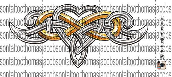 Celtic Infinity Heart Tattoo Design by thomasjacobsonart on Etsy