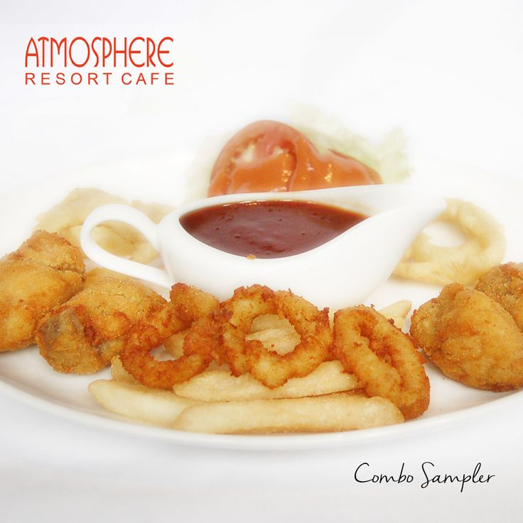 Platter of chicken, snapper, calamary, onion ring & french fries served w/ bbq sc