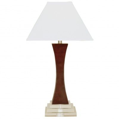 "SKU: CT3583  Transitional Table Lamp – 28.5"" Height  Merlot Finish  (6×6)""T x (16×16)""B x 11""S – White Linen Shade  Three Way Turn Medium Base Socket – 100W Max.  8′ Gold Cord  6-8 Weeks Lead Time, Minimum Order Quantity = 12  Also Available In Mario Standard Wood  Made in USA"