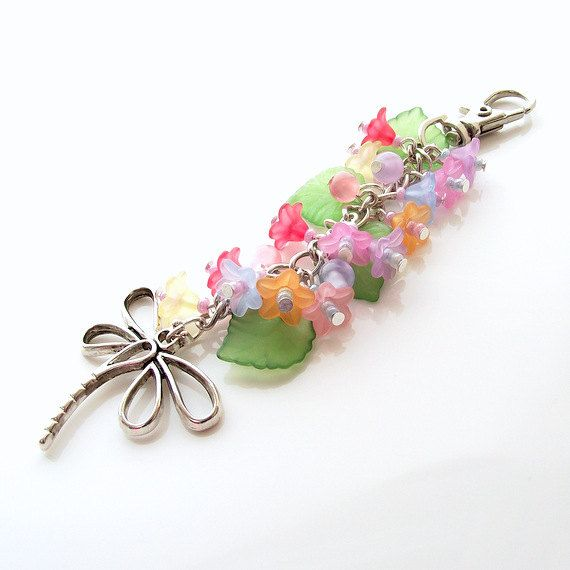 dragonfly purse bag charm flower purse charm