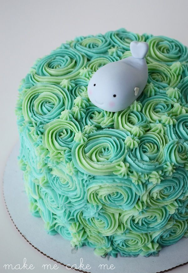 Under the Sea Cake with Fondant Whale Topper